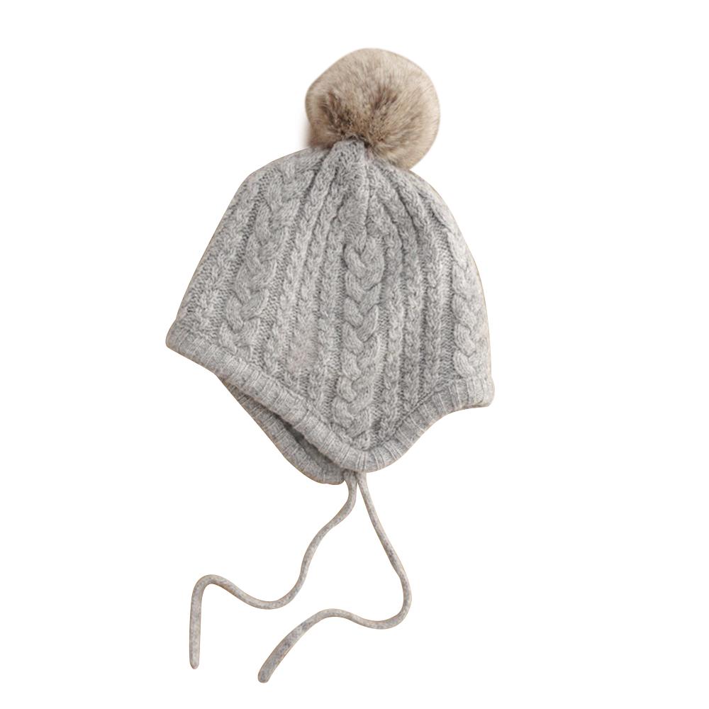 2a539f26 Cute Wool Knit Autumn Winter Earflap Hairball Twist Hat Cap Baby ...