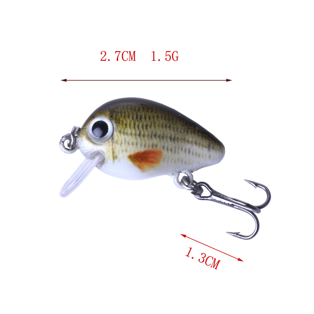 Plastic Crank Bait Fishing Lure Hook Fish Tackle Tool W/Box 5pcs/Lot 2.7cm