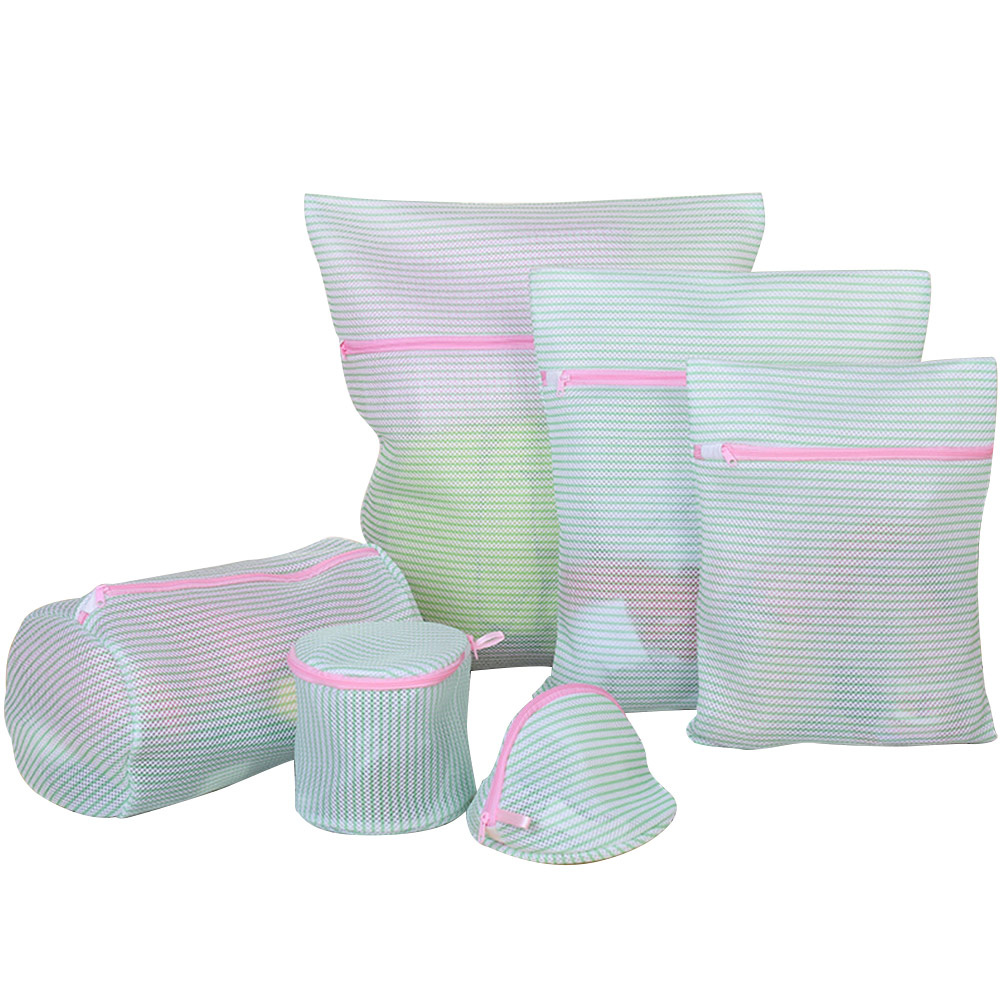 Wholesale 6pc/set Laundry Bag Reusable Mesh Bra Underwear Wash Bag W/Zipper Green