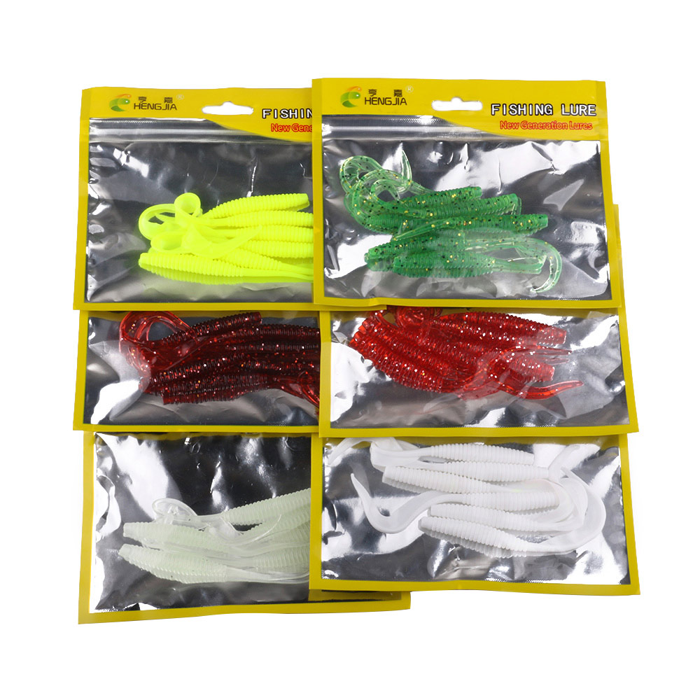 6pcs/pack Flexible Soft Fishing Lure 10cm/2.2g W/Grub Worm Fish Baits