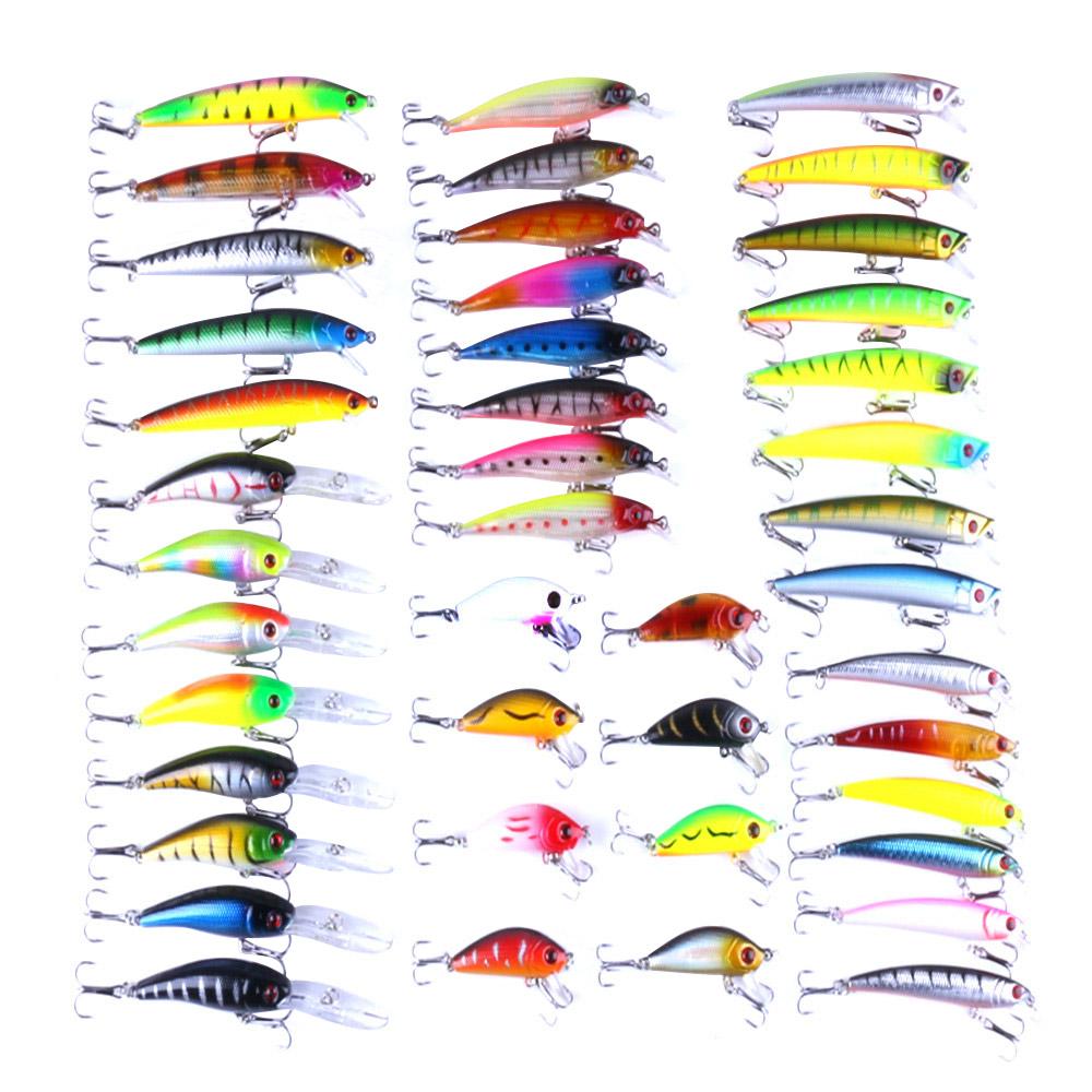 43pcs/lot Fly Fishing Lure Set Hard Bait Lure Wobbler Carp 6Models