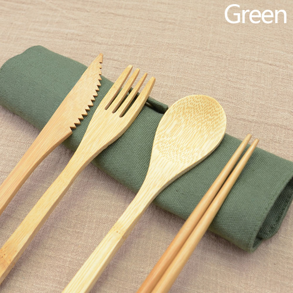 Portable Bamboo Cutlery Travel Eco-friendly Fork Spoon Set W//Pouch Green #ur