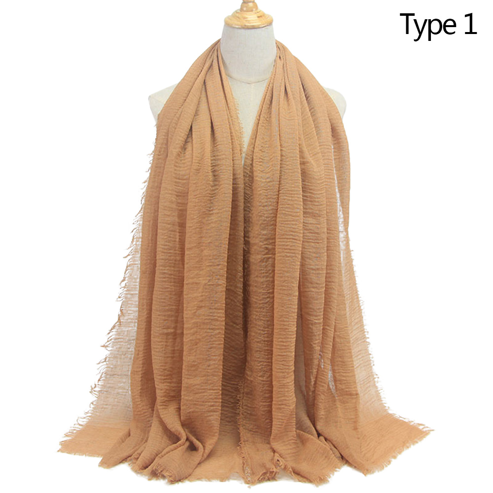 Cotton Plain Crinkle Cloud Scarf Solid Soft Shawl Headcover Autumn Winter