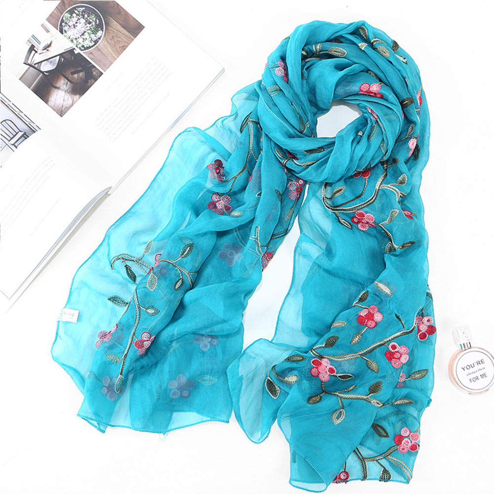 Women Floral Print Scarf Neck Shawl Lady Flower Printed Long Soft Wrap