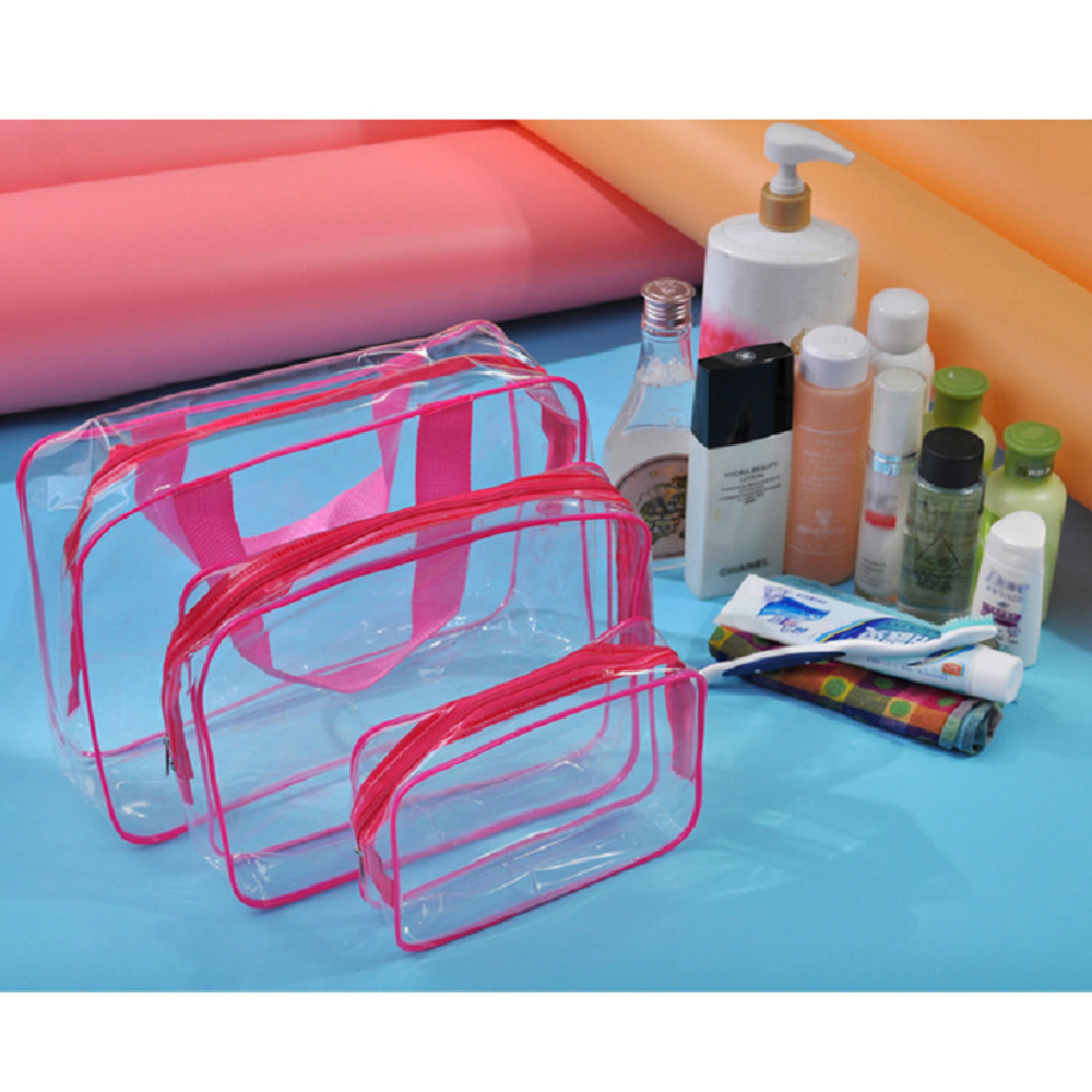 3pc Clear PVC Toiletry Bag Waterproof Cosmetic Makeup StorageBags W/Zipper