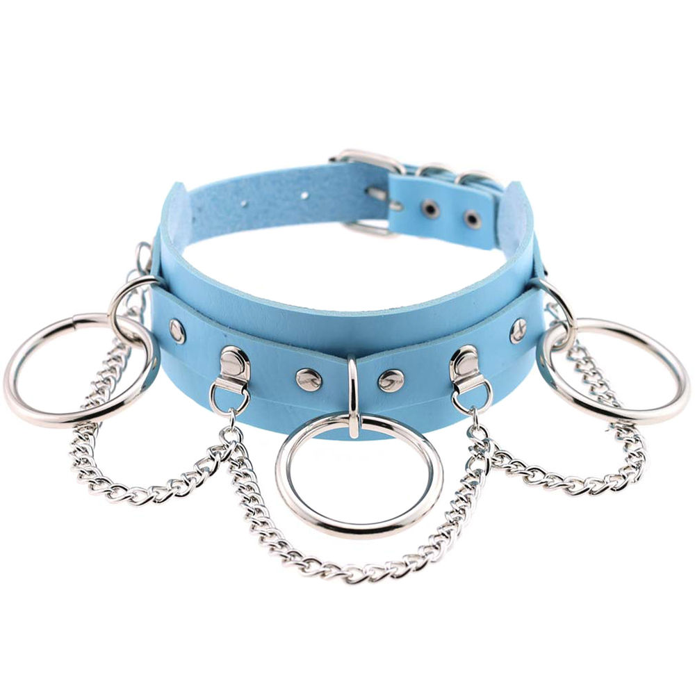 Wholesale Sexy Choker Punk Goth Slave Collar Chain Belt Necklace Round Ring Sky Blue