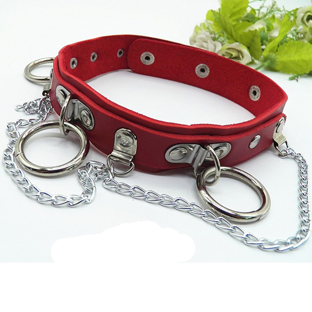 Wholesale Sexy Choker Punk Goth Slave Collar Chain Belt Necklace Round Ring Red