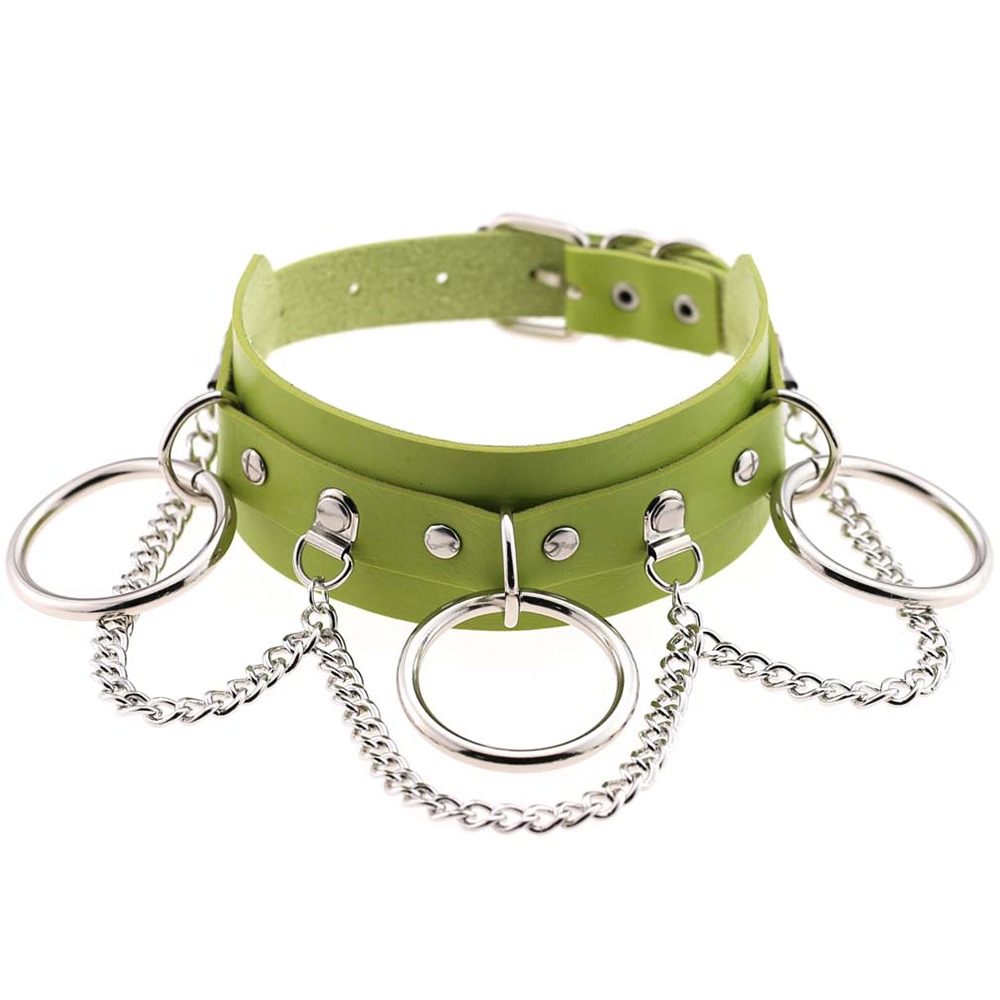 Wholesale Sexy Choker Punk Goth Slave Collar Chain Belt Necklace Round Ring Green