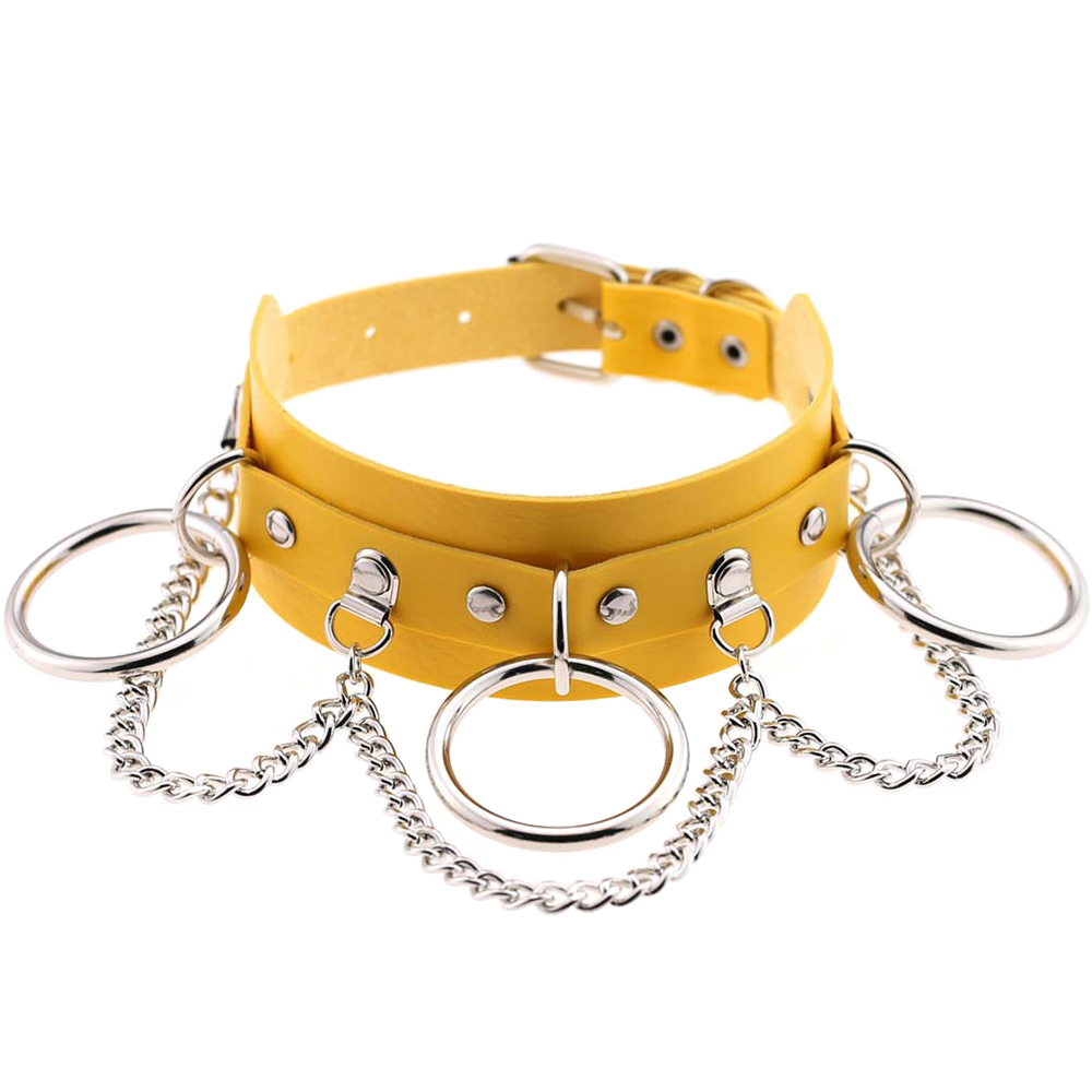 Wholesale Sexy Choker Punk Goth Slave Collar Chain Belt Necklace Round Ring Yellow