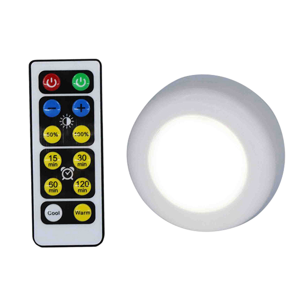 Wireless LED Puck Light W/Remote Control Dimmable Nightlight Closet Lamp