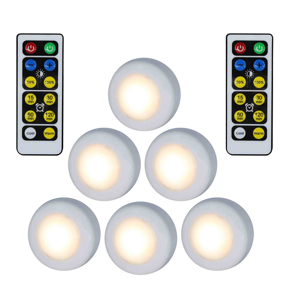 Wholesale Wireless LED Puck Light W/Remote Control Dimmable Nightlight Lamp 6pcs