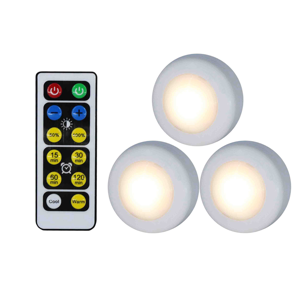 Wholesale Wireless LED Puck Light W/Remote Control Dimmable Nightlight Lamp 3pcs
