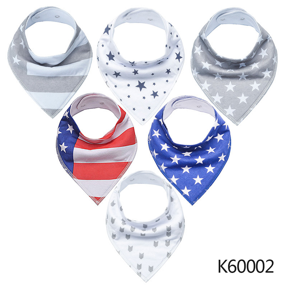 Wholesale Baby Bandana Drool Bibs 6-pack Unisex Cotton Teething Drooling Set K60002