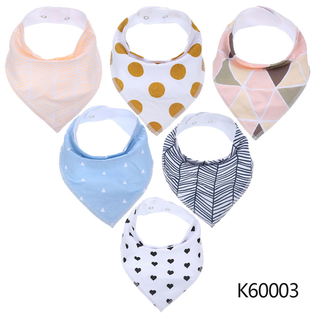 Wholesale Baby Bandana Drool Bibs 6-pack Unisex Cotton Teething Drooling Set K60003