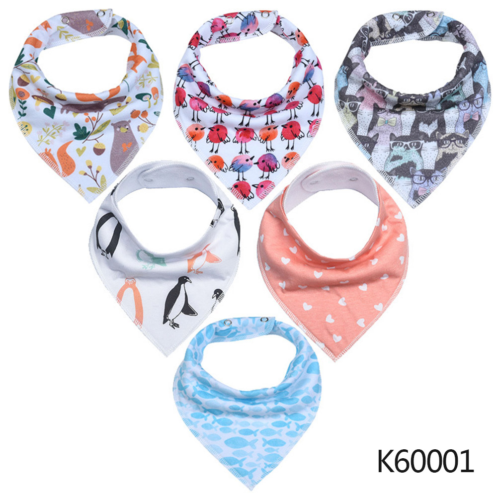 Wholesale Baby Bandana Drool Bibs 6-pack Unisex Cotton Teething Drooling Set K60001