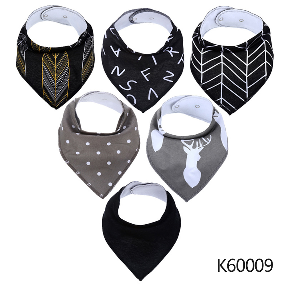 Wholesale Baby Bandana Drool Bibs 6-pack Unisex Cotton Teething Drooling Set K60009