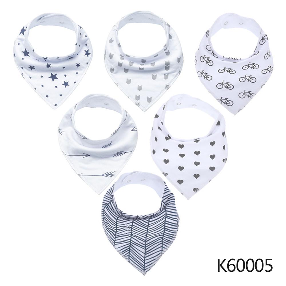 Wholesale Baby Bandana Drool Bibs 6-pack Unisex Cotton Teething Drooling Set K60005