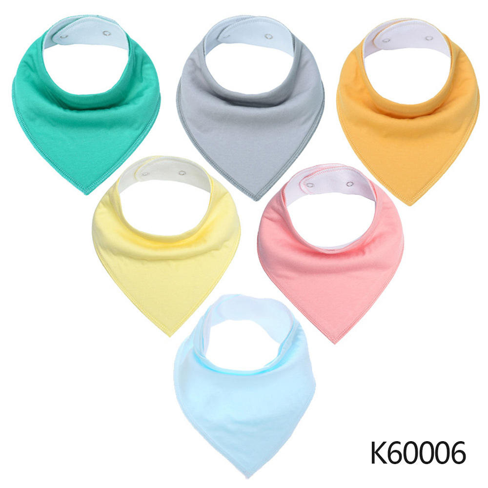 Wholesale Baby Bandana Drool Bibs 6-pack Unisex Cotton Teething Drooling Set K60006