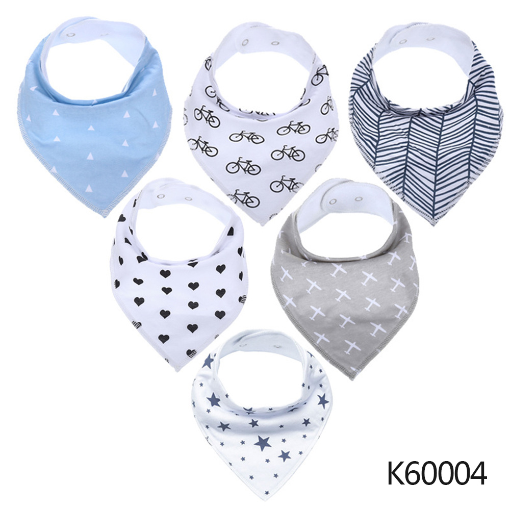 Wholesale Baby Bandana Drool Bibs 6-pack Unisex Cotton Teething Drooling Set K60004