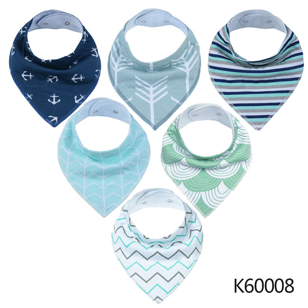 Wholesale Baby Bandana Drool Bibs 6-pack Unisex Cotton Teething Drooling Set K60008