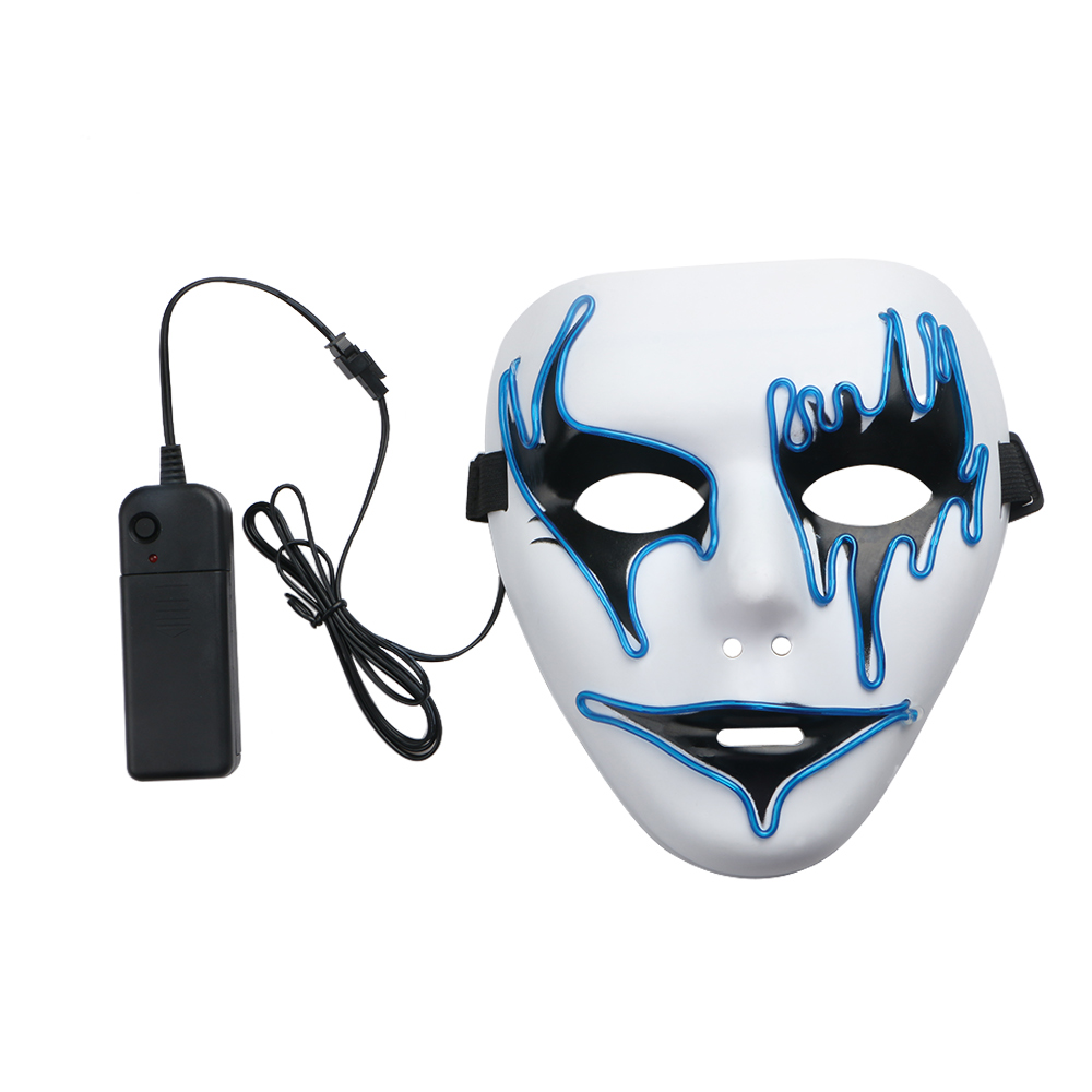 El Wire Glowing Halloween Mask Luminous 3Modes LED Light Up Scary Mask