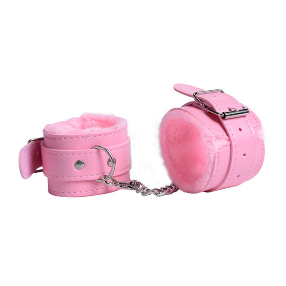 Adjustable PU Leather Plush Handcuffs Ankle CuffRestraints SexToy W/Shackle