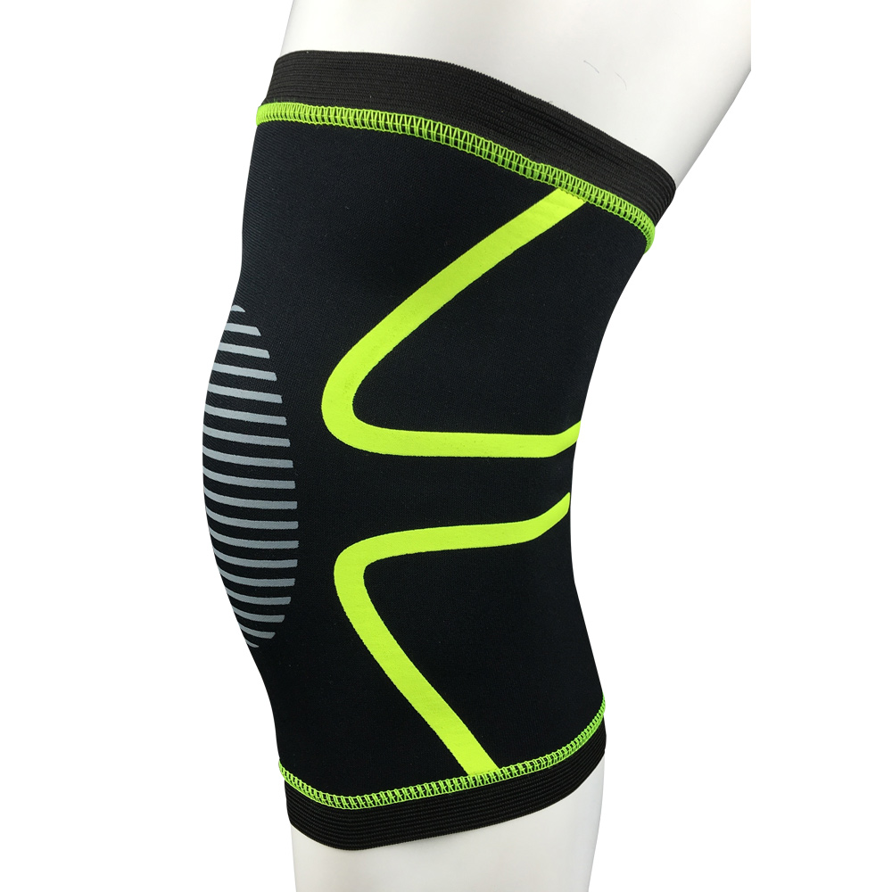 Wholesale Compression Knee Sleeve Brace for Football Basketball Fluorescent Green L