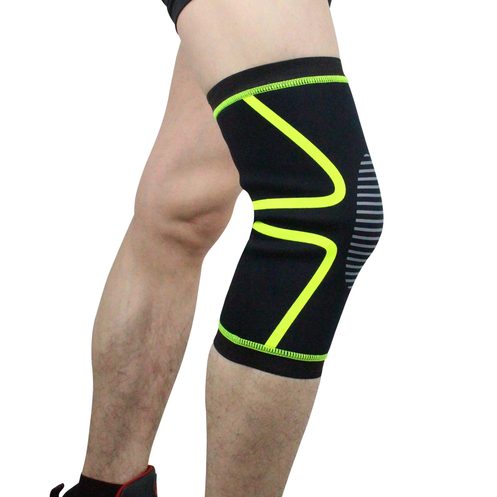 Wholesale Compression Knee Sleeve Brace for Football Basketball Fluorescent Green XL