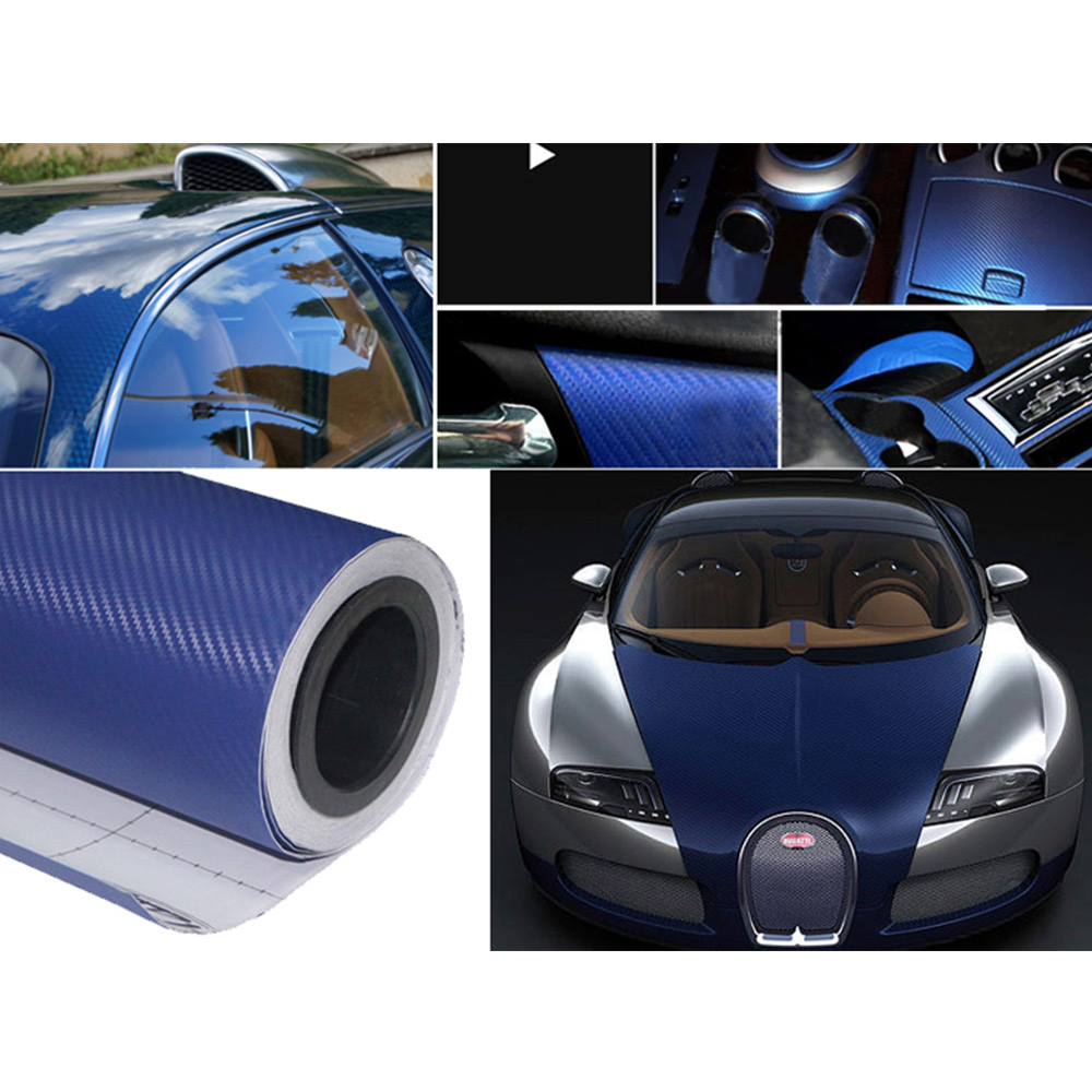 Carbon Fiber Vinyl Film Car Wrap Roll Adhesive Sticker Decal Sheet 127x10cm