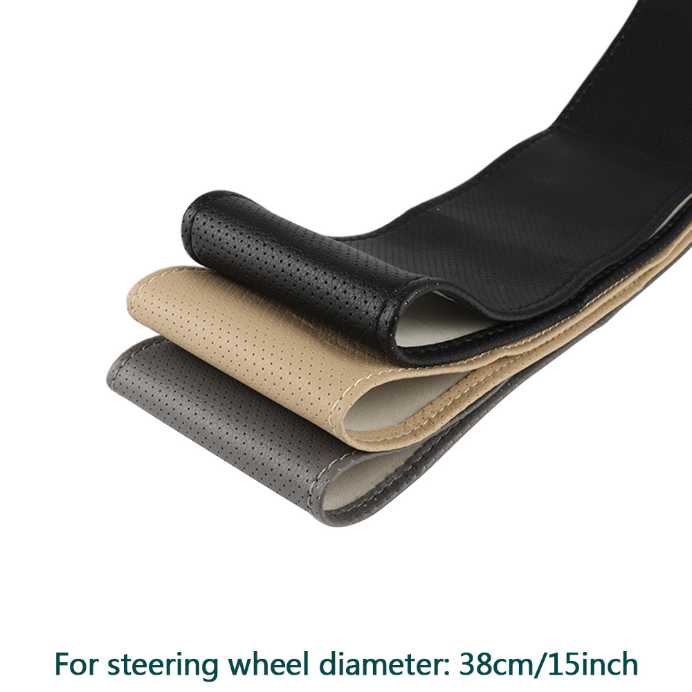 PU Leather Steering Wheel Cover Anti-slip Self-knitting Protector 38cm