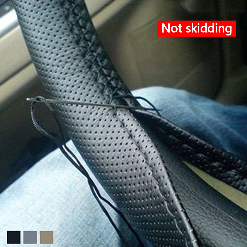 Wholesale PU Leather Steering Wheel Cover Anti-slip Self-knitting Protector 38cm Gray