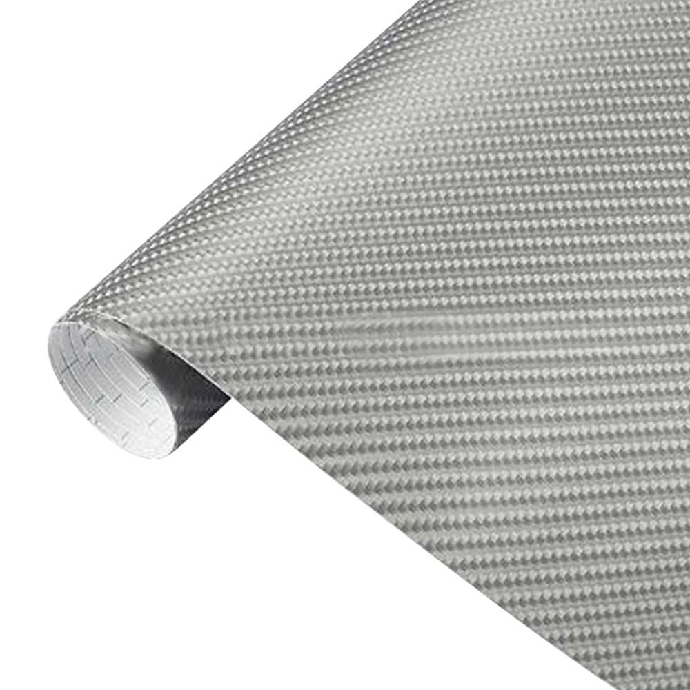 Wholesale Carbon Fiber Vinyl Film Car Wrap Roll Sticker Decal Sheet Silver 152x20cm