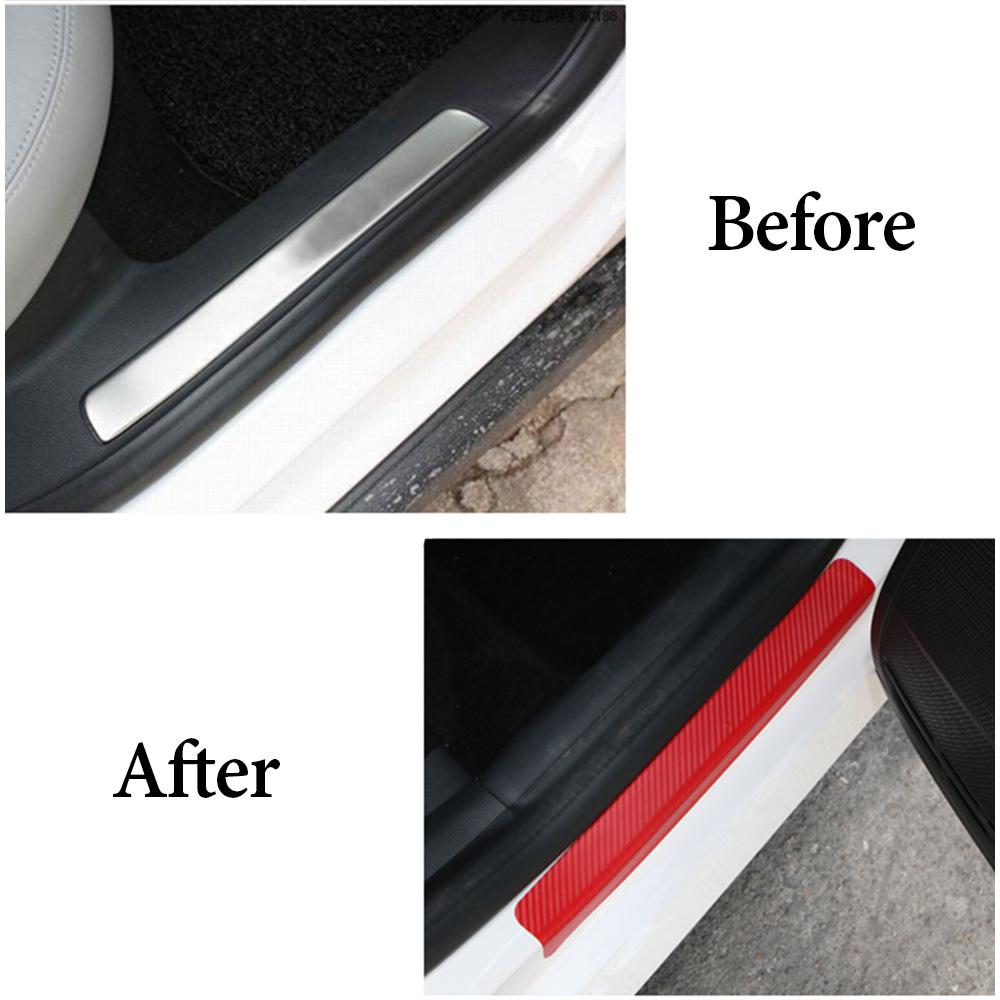 Wholesale Door Sill Protector 3D Carbon Fiber Car Doors Guard Bumper Protection Red