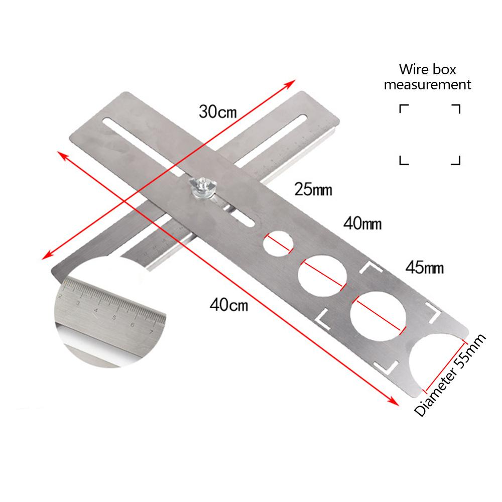 Stainless Steel Ceramic Tile Hole Locator Floor Drilling Guide Finder Gauge