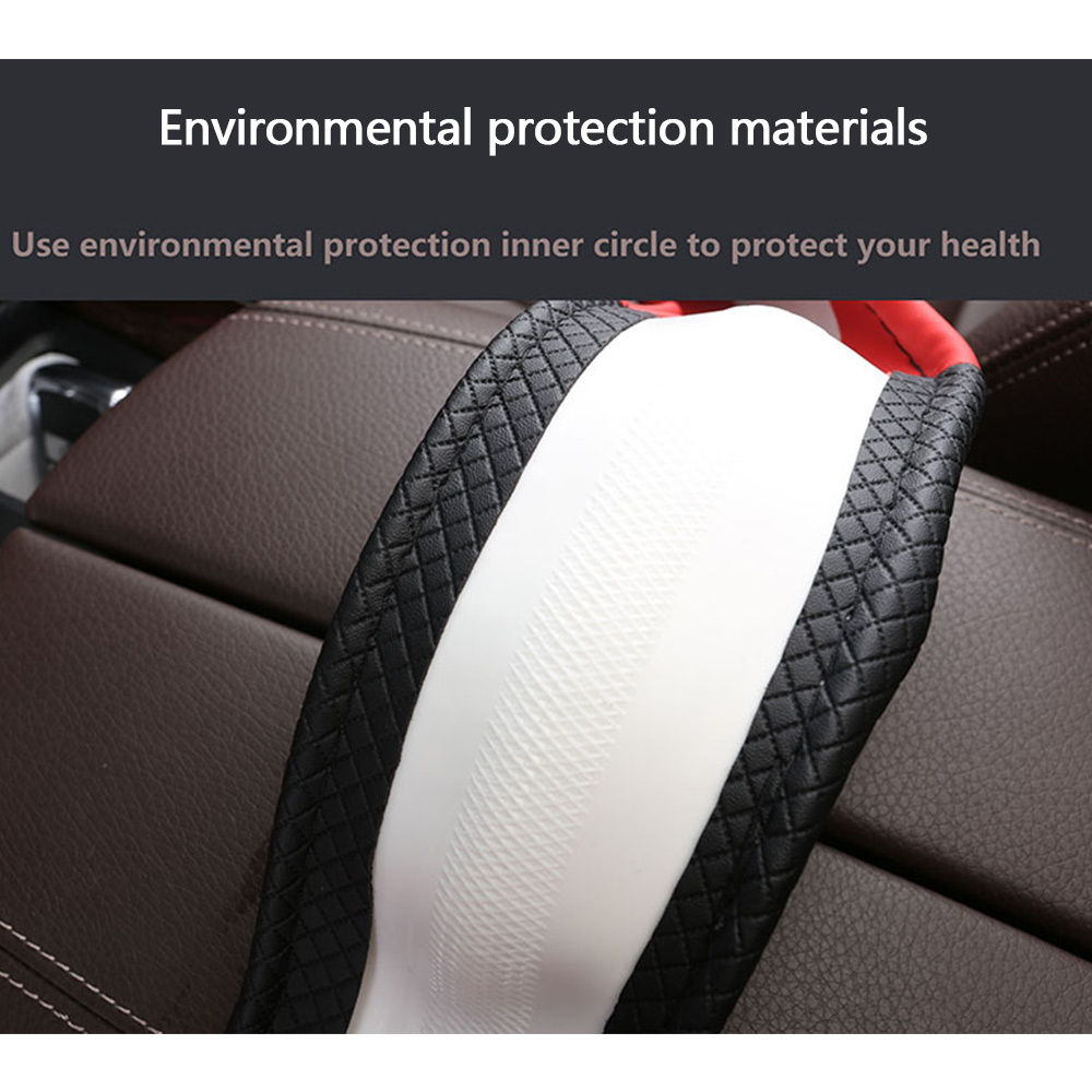 PU Leather Steering Wheel Cover Patch Anti-slip Protector Fit 38cm /15inch