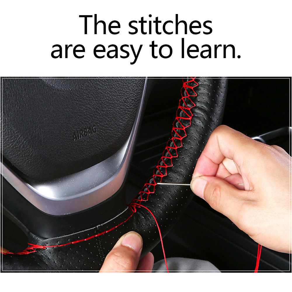 Cow Leather SteeringWheel CoverSoft Self-knitting Anti-slipSafety Protector