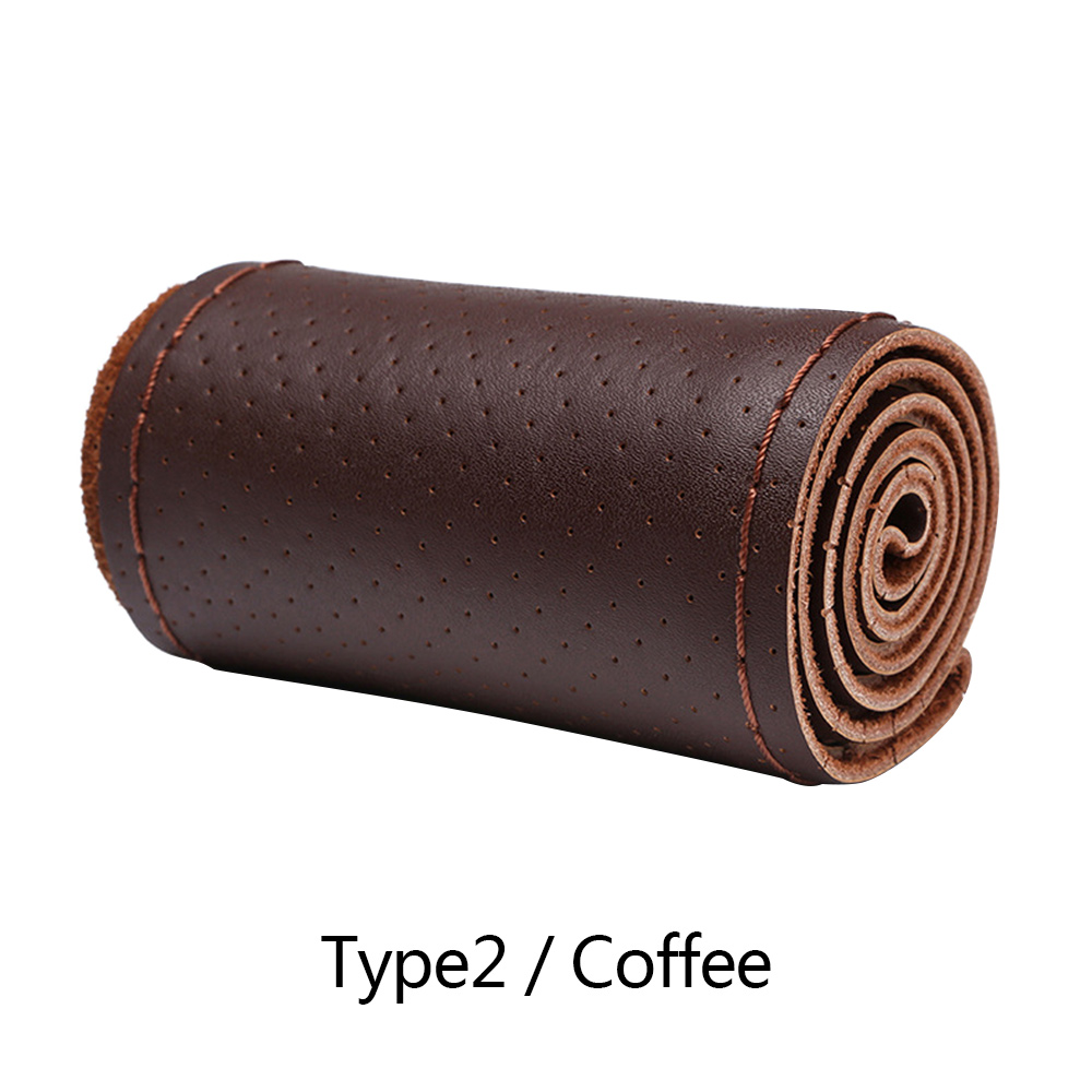 Wholesale Cow Leather SteeringWheel CoverSoft Anti-slip SafetyProtector Coffee Type 2
